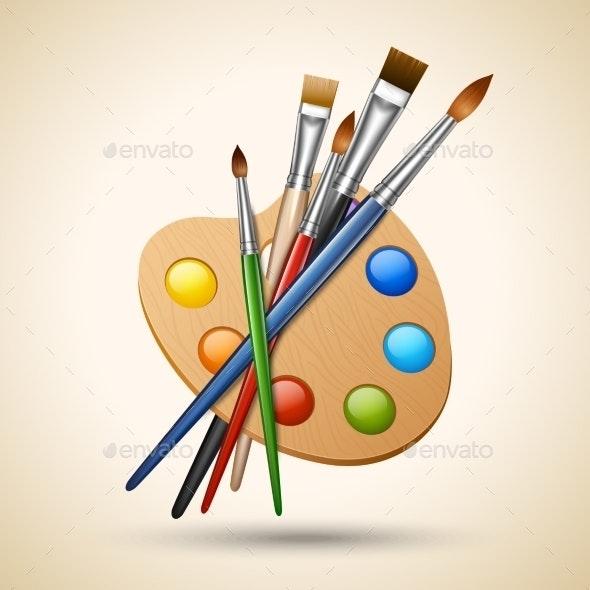 Palette with Paint Brushes - Miscellaneous Vectors