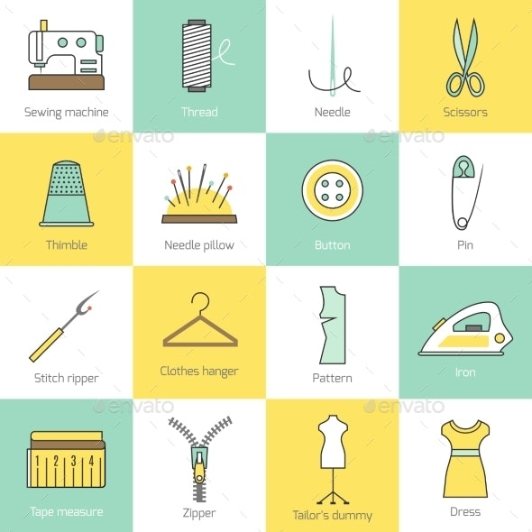 Sewing Equipment Icons - Technology Icons