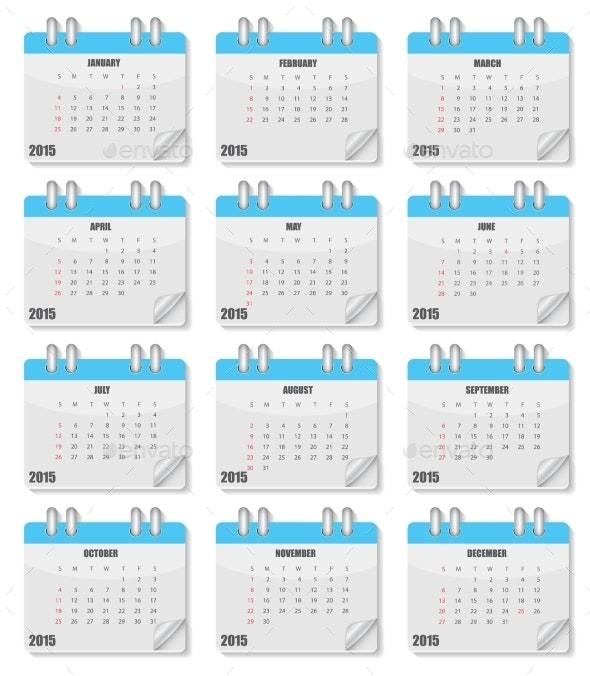 Calendar 2015 Year. Vector Illustration. - Web Technology