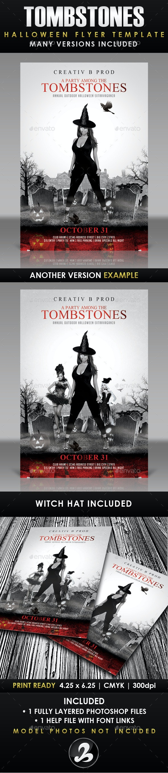 A Party Among Tombstones Halloween Flyer Template - Events Flyers