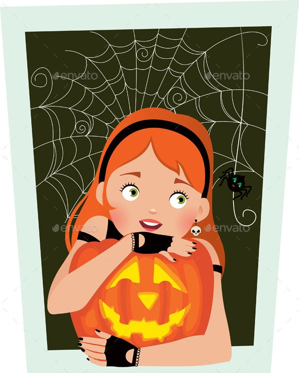Girl with Pumpkin on Halloween - Halloween Seasons/Holidays