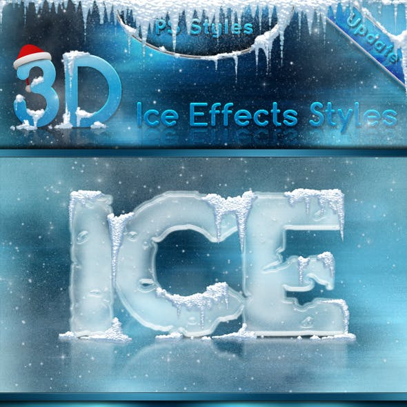 3D Ice Cool, Freeze & Snow Effects Styles