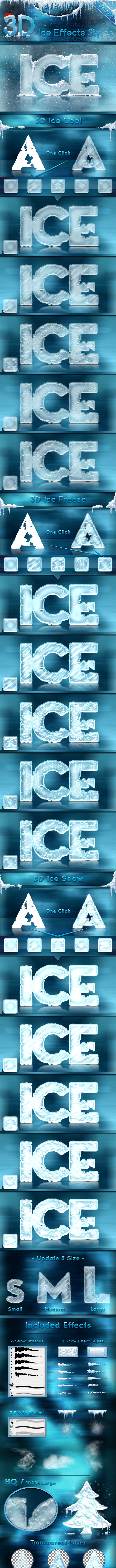 3D Ice Cool, Freeze & Snow Effects Styles - Styles Photoshop