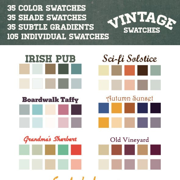 Vintage Retro Swatches and Gradients in Ai and ASE