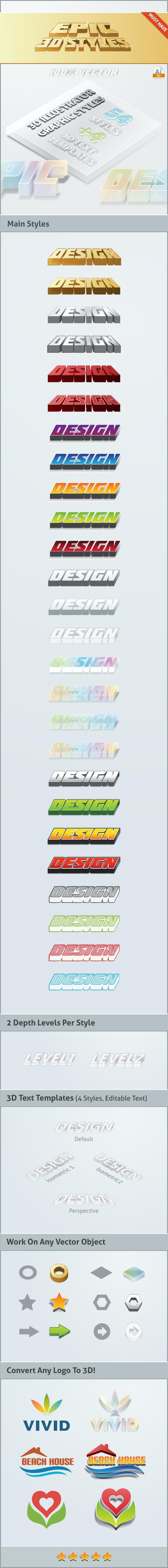 Epic 3D Styles - Illustrator - Styles Illustrator