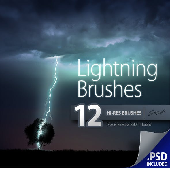 12 Hi-Res Lightning Brushes