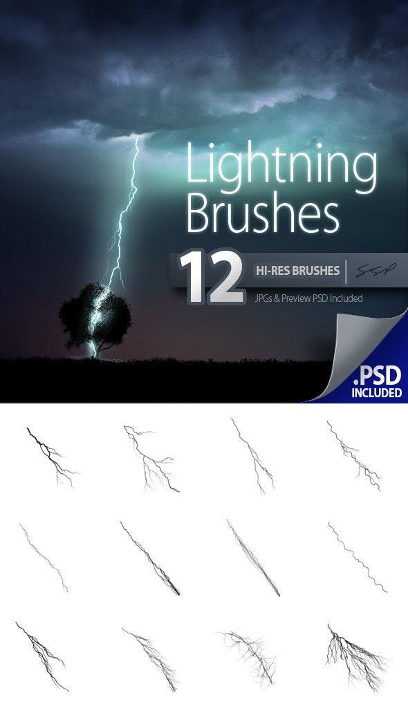 12 Hi-Res Lightning Brushes - Brushes Photoshop