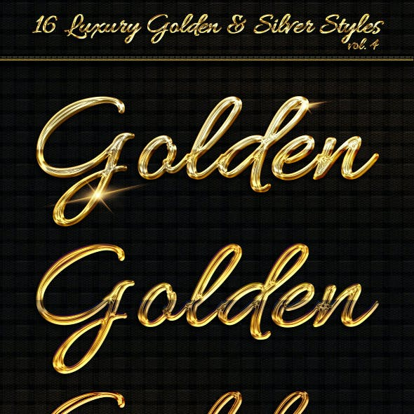 16 Luxury Golden & Silver Text Styles vol4