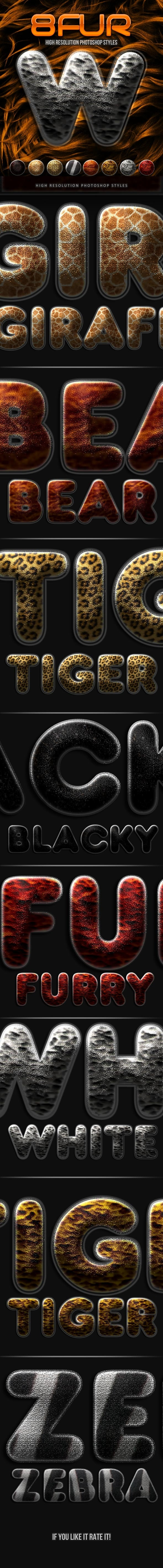 8 Fur Photoshop Styles - Text Effects Styles