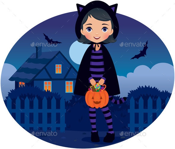 Little Girl in Cat Costume on Halloween - Halloween Seasons/Holidays
