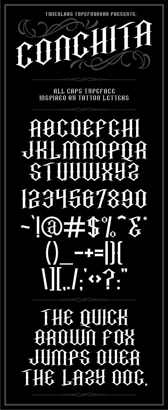 Conchita Typeface - Gothic Decorative