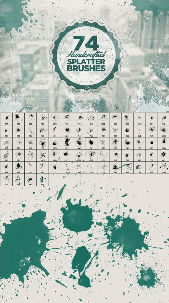 74 Handcrafted Splatter Brushes - Artistic Brushes