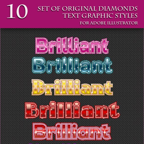 Set of Original Diamonds Text Grapic Styles.