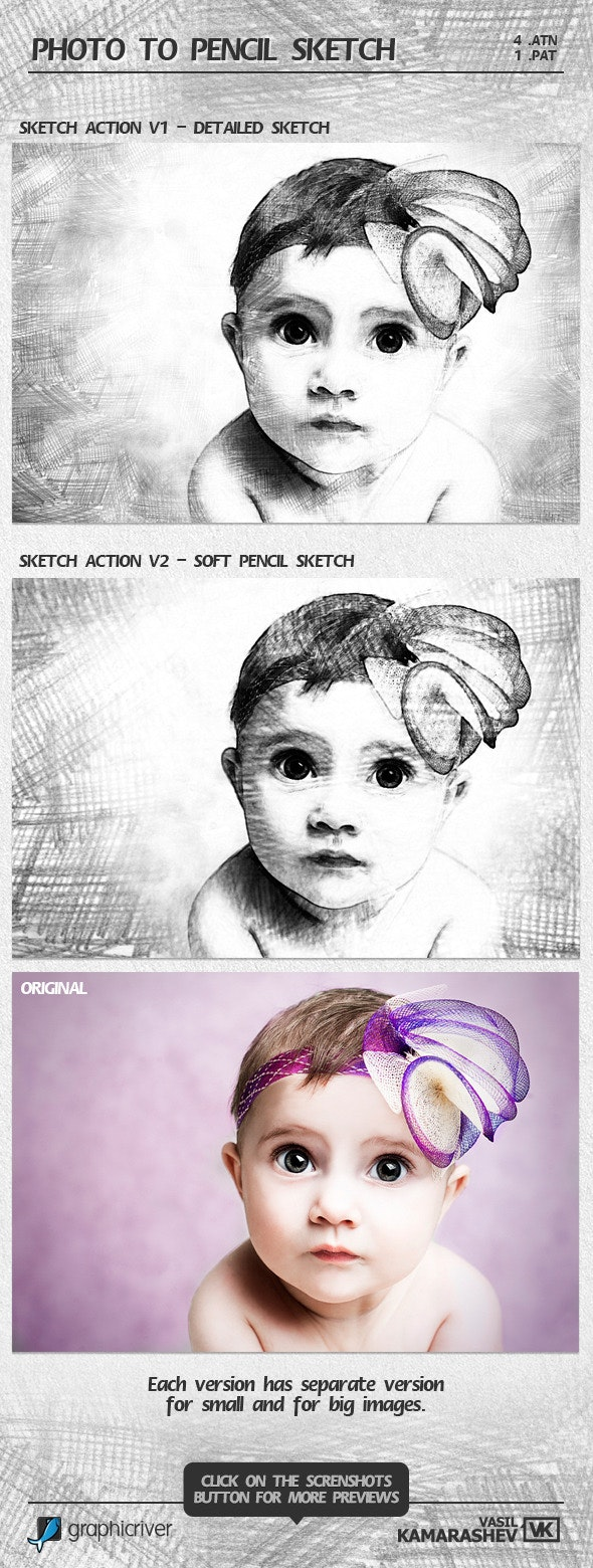 Photo to Pencil Sketch - Photo Effects Actions