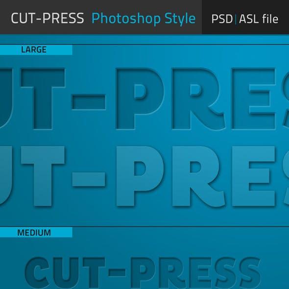 Cut-Press Photoshop Text Style