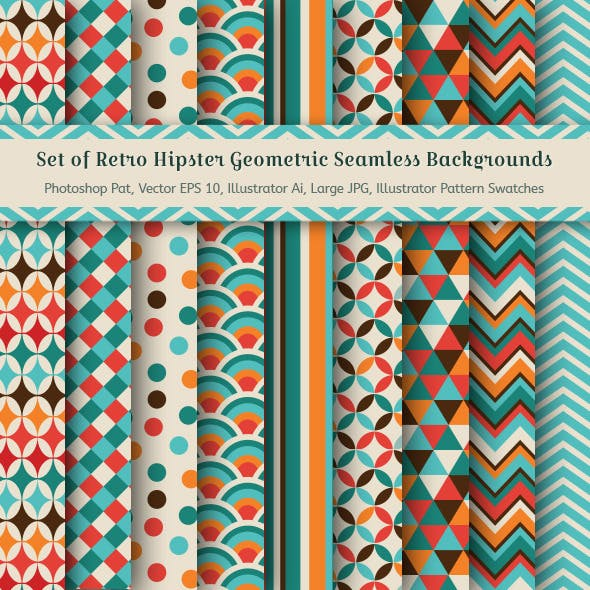 Set of Retro Geometric Seamless Background Pattern