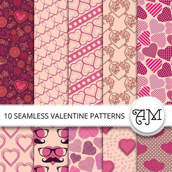 10 Vector Seamless Valentine Patterns