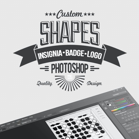 135 Insignia, Badge and Logo Custom PSD Shapes