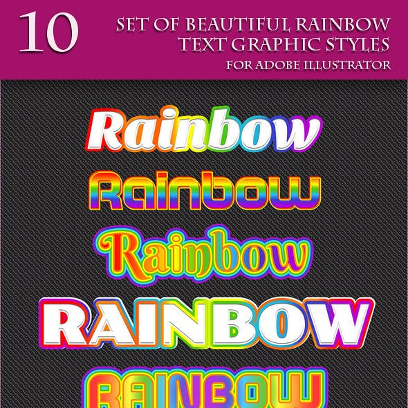 Set of Beautiful Rainbow Text Graphic Styles.