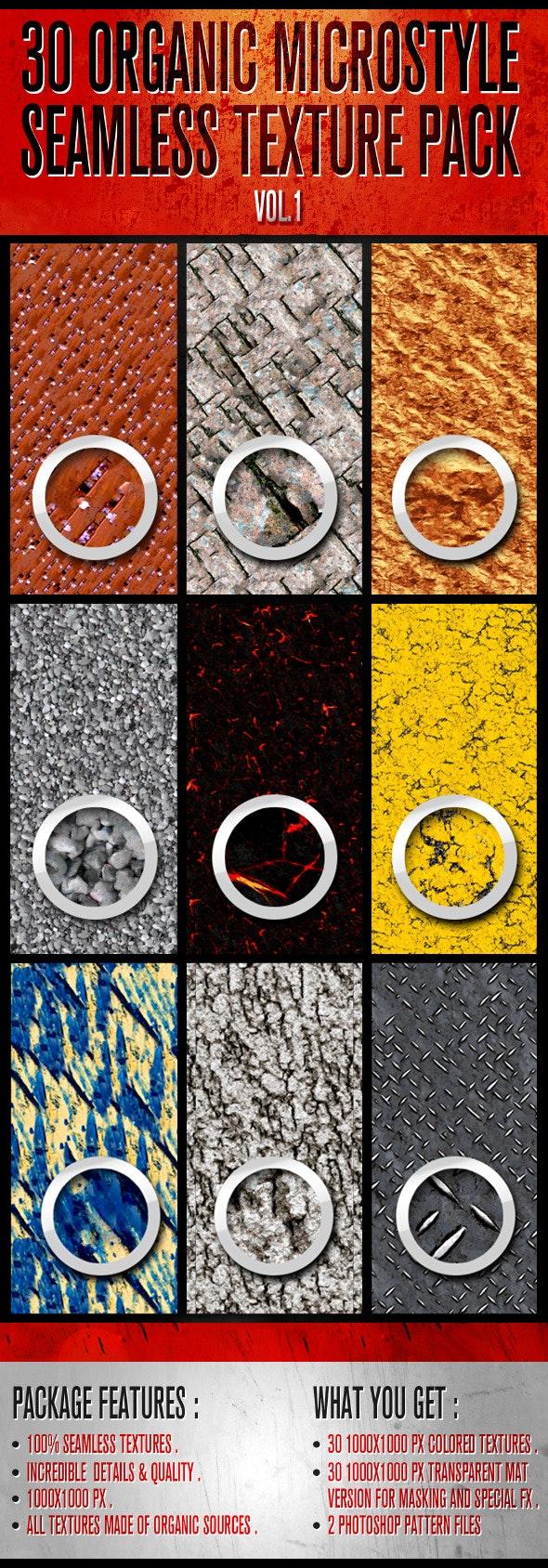 30 Organic Micro-Style Seamless Texture Pack - Textures / Fills / Patterns Illustrator