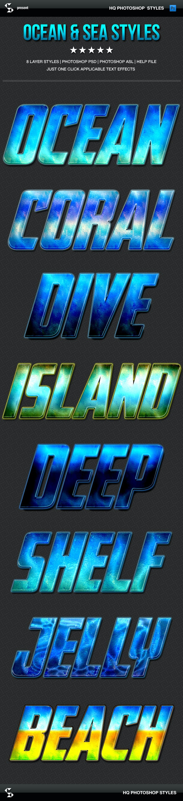 Hot Summer Styles - Ocean and Sea - Text Effects Styles