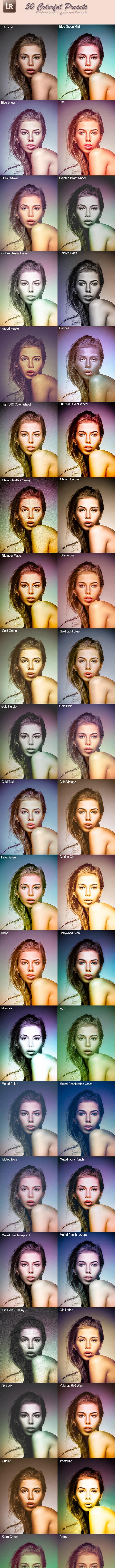 50 Colorful Presets - Portrait Lightroom Presets