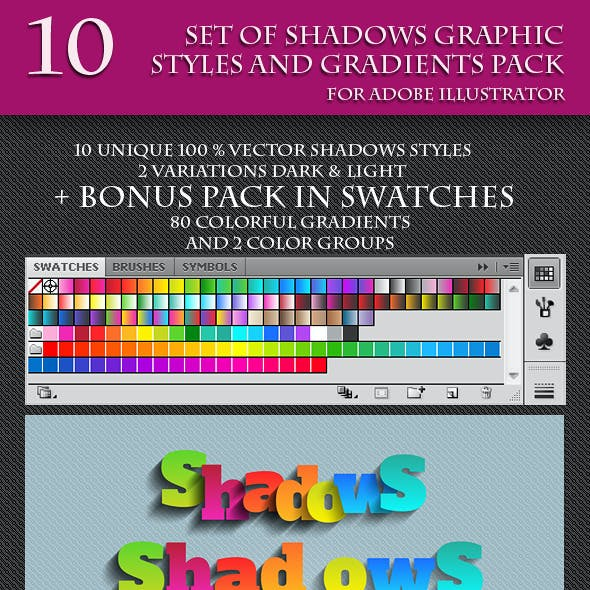 Set of Unique Vector Shadows Graphic Styles.