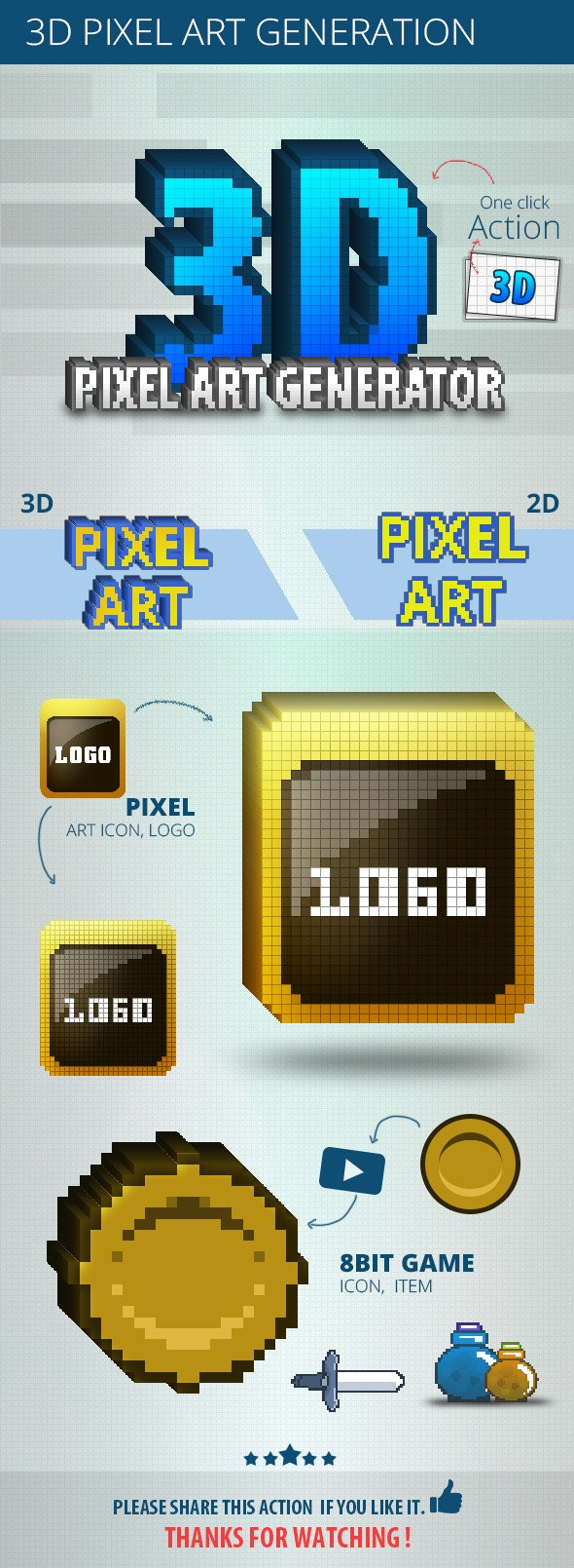 3D Pixel Art Generation - Actions Photoshop