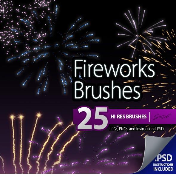 25 Hi-Res Fireworks Brushes