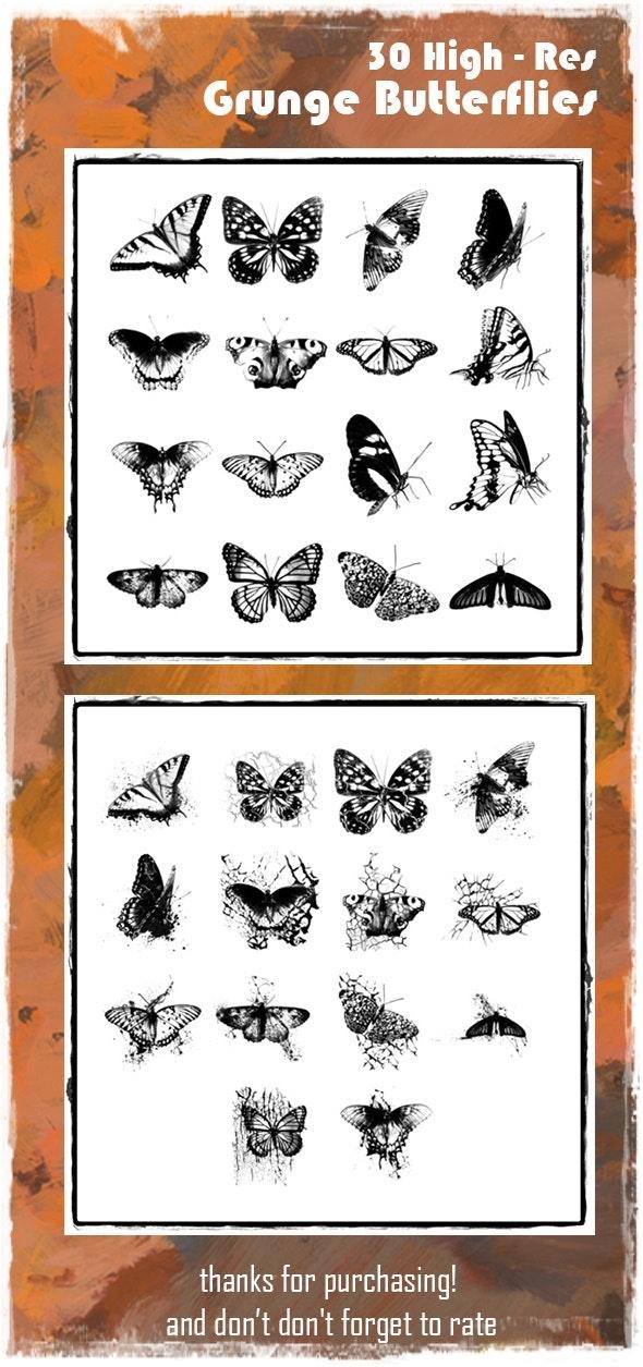 Grunge Butterfly Brush Set - Brushes Photoshop