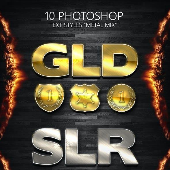 "10 Photoshop Styles ""METAL MIX"""