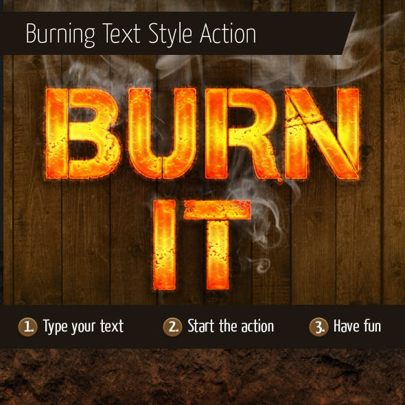 Burning Text Style Action