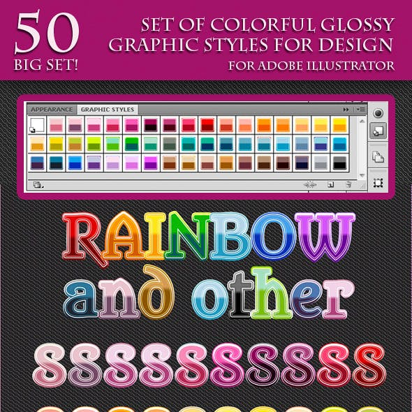 Set of Colorful Glossy Graphic Styles for Design