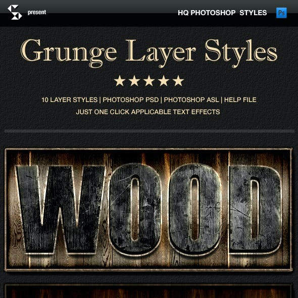 Grunge layer styles - wood, rust, nature