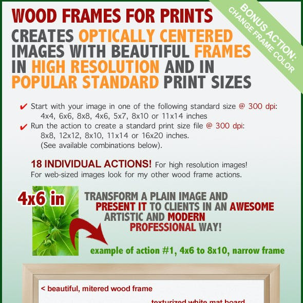 Wood Frame for Prints Action Set