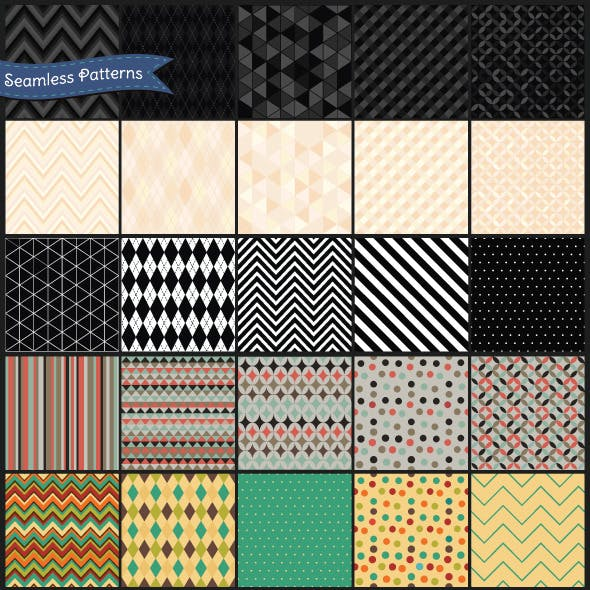 Set of Retro Geometric Seamless Background Pattern