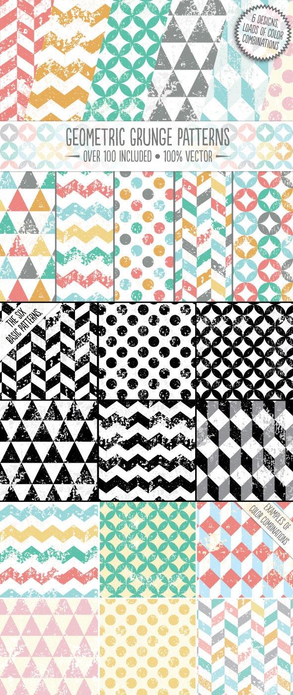 Geometric Grunge Patterns - Textures / Fills / Patterns Illustrator