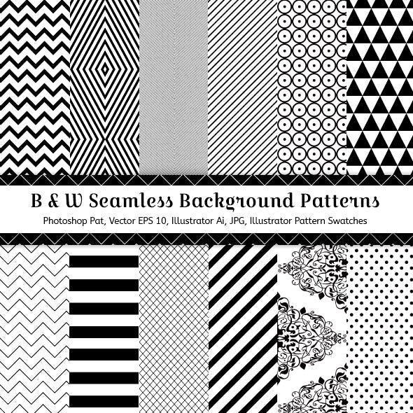 Black & White Seamless Background Patterns