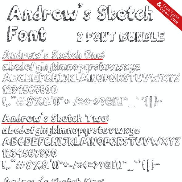 Andrew's Sketch Font One and Two