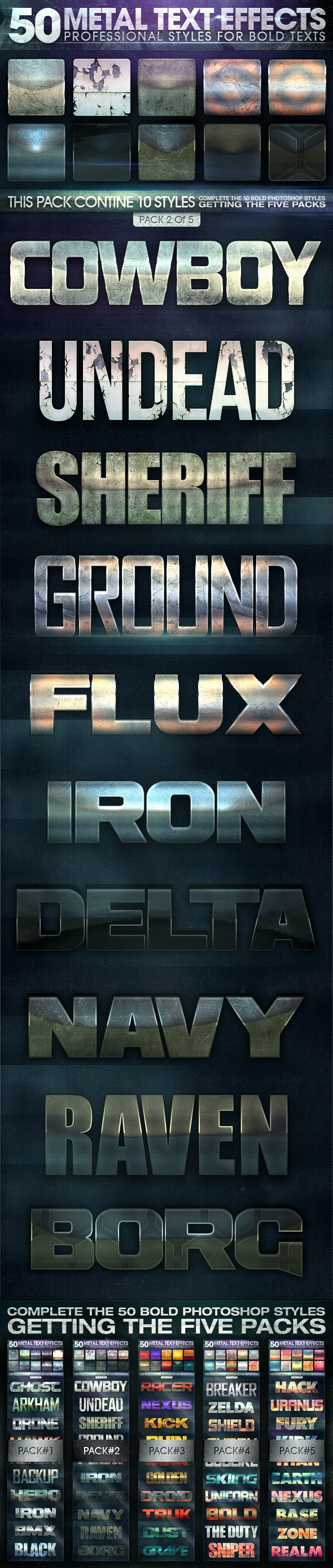 50 Metal Text Effects 2 of 5 - Text Effects Styles
