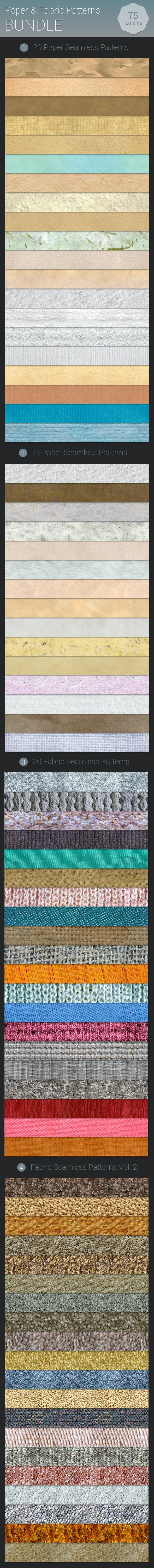 Paper and Fabric Patterns Bundle - Textures / Fills / Patterns Photoshop