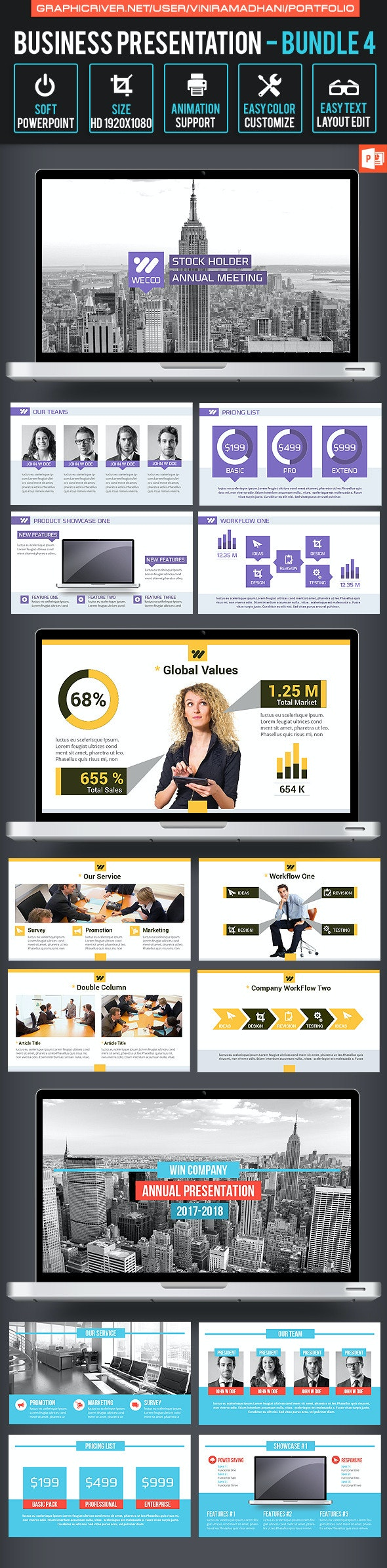 Business Presentation Bundle 4 - Business PowerPoint Templates