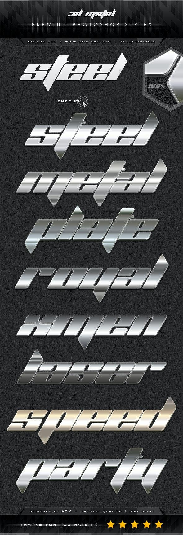 3D Premium Metal Styles - Styles Photoshop