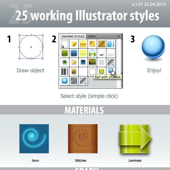 25 Working Illustrator Styles v 1.01