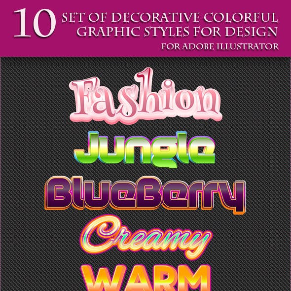 Set of Colorful Decorative Graphic Styles