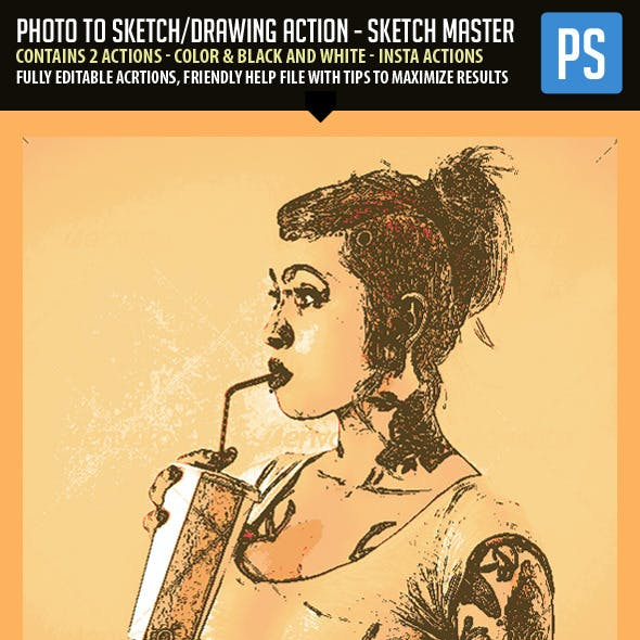 Photo to Sketch/Drawing Action - SketchMaster