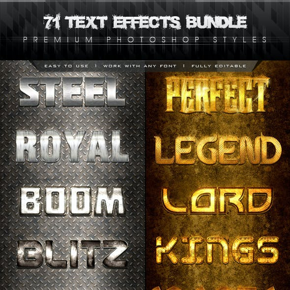 71 Premium Text Effects Styles Bundle