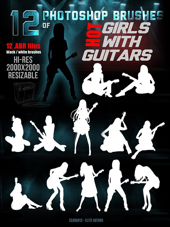 12 Photoshop Brushes of Hot Girls With Guitars - Miscellaneous Brushes