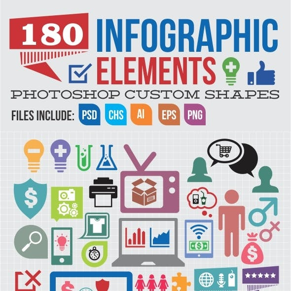 180 Infographic Elements Custom Shapes
