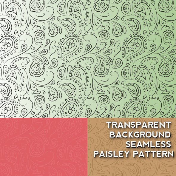 Transparent Background Seamless Paisley Pattern